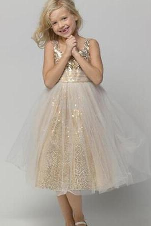 Custom Made Champagne Gold Sequin Tea Length Tulle Dress, Evening Dress, Kids Clothing, Party Frock, Flower Girl Dresses, First Holy Communion Dresses, Pageant Dress