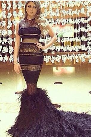 Stunning Sheer Evening Dresses Mermaid Lace Jewel Neckline Feather Prom Gowns Custom Made Floor Length Occasion Dress
