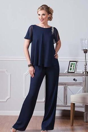 Navy Blue Ursula Chiffon Pants Suits For Mother Of The Bride Jewel Neckline Cheap Dresses Party Evening For Wedding Mothers Guest Dress