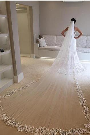 New Arrival One Layer 3M Long Wedding Veils Appliqued Edge Cheap Tulle Cathedral Bridal Veil With Comb For Bridal