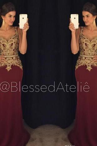 Burgundy Lace 2018 Evening Dresses Spaghetti Beaded Mermaid Satin Prom Dresses Sexy Vintage Formal Party Gowns