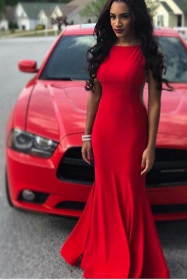 Sexy Prom Dress, Red Crew Prom Dresses,Long Evening Dress, Chiffon Prom Dresses Formal Dress