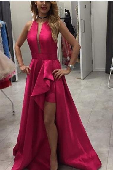 2018 Fuchsia Prom Dress, Long Prom Dresses, Sexy Evening Dress, High Split Satin Long Prom Dresses Formal Dress