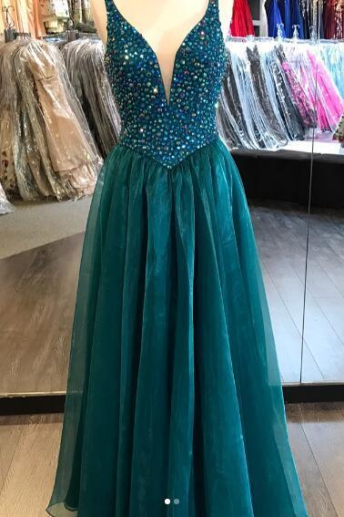 2018 Sexy Prom Dress, Long Prom Dresses, Hunter Green Evening Dress, Deep V-neck Beads Rhinestones Long Prom Dresses Formal Dress