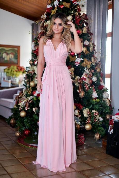 2018 Sexy Prom Dress Evening Dress Sheath Halter Chiffon Pink Long Prom Dresses Evening Dresses Formal Dress
