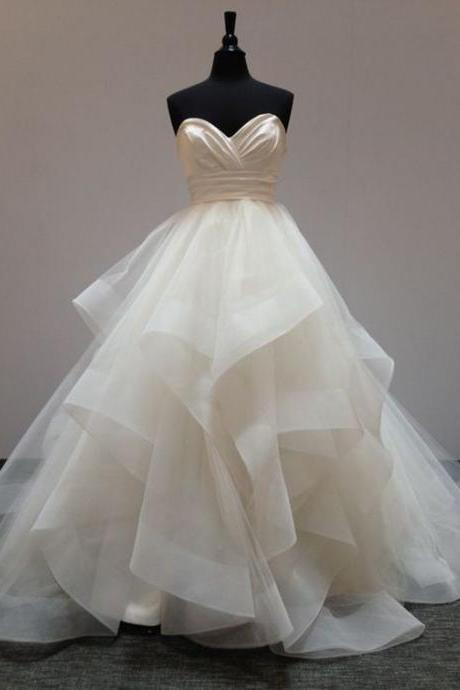 2018 Ball Gown Wedding Dress, Sweetheart Wedding Dresses, Ruffle Bridal Gown, Long Wedding Gown