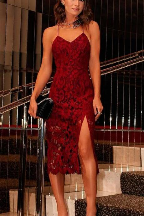 2018 Burgundy Prom Dress Party Dress Lace Tea-length Prom Dresses Backless Party Dresses Formal Dress