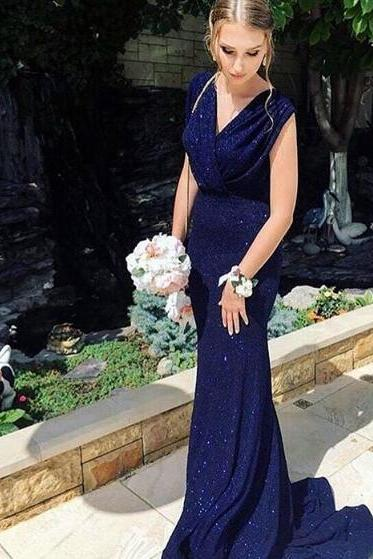 Dark Navy Sexy Prom Dress Sheath Sequins Lace Long Prom Dresses Evening Dress Formal Dress