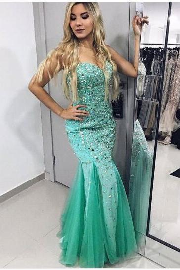 Luxury Bling Sparkle Prom Dress Evening Dress Mermaid Green Sweetheart Beads Rhinestones Long Prom Dresses Evening Dresses Formal Dress