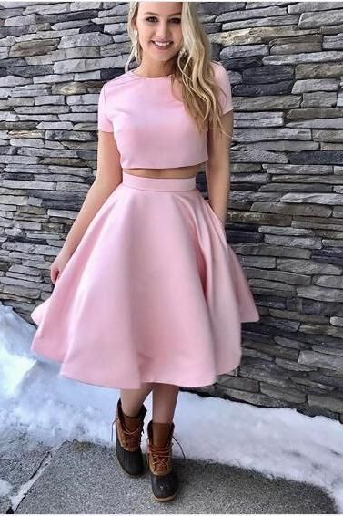 2018 Sexy Mini Short Two Pieces Prom Dress A-line Pink Satin Prom Dresses Party Dress Formal Dress