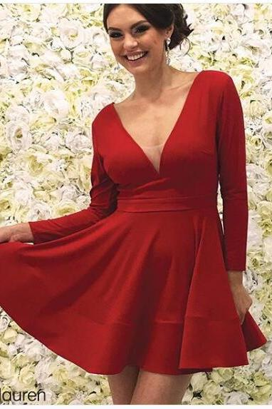 2018 Sexy Mini Short Prom Dress A-line Red Deep V-neck Chiffon Prom Dresses Party Dress Cocktail Dress
