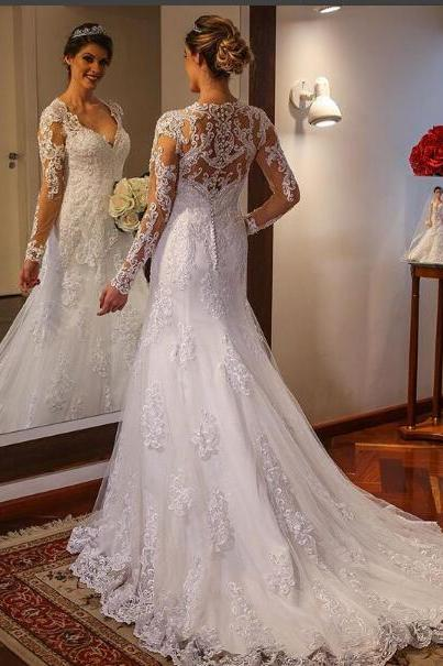 2018 Mermaid Wedding Dress Sheer Neck Lace Long Wedding Dresses Bridal Dress Wedding Gown