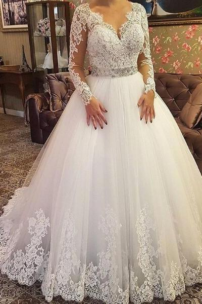2018 A-line Wedding Dress V-Neck Sheer Long Sleeves Lace Long Wedding Dresses Bridal Dress Wedding Gown