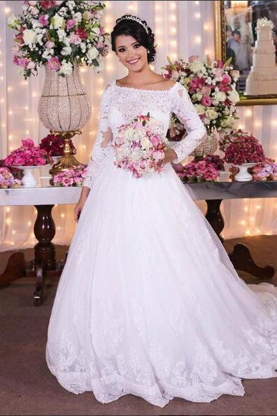 2018 Elegant A-line Wedding Dress Boat Neck Lace Long Wedding Dresses Bridal Dress Wedding Gown