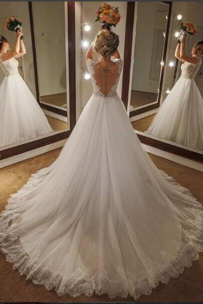 A-line Sexy 2018 Wedding Dress Backless Long Wedding Dresses Bridal Gown