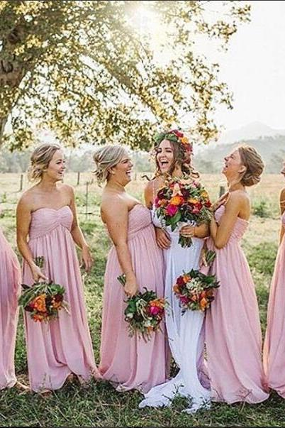 Elegant Bridesmaid Dress,Pink Bridesmaid Dresses,Chiffon Bridsmaid Dress, Long Bridesaid Dresses