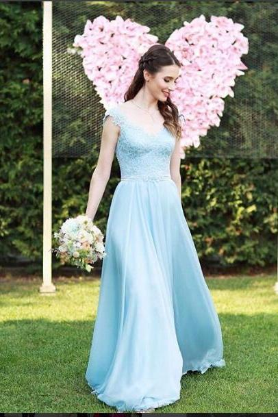 Elegant Prom Dress, Baby Blue Prom Dresses, Appliques Evening Dress,Long Evening Dresses, Chiffon Formal Dress