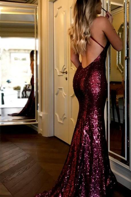 Sexy Prom Dress,Deep V-neck Prom Dresses, Burgundy Mermaid Evening Dress, Long Backless Evening Dresses, Sequins Lace Formal Dress