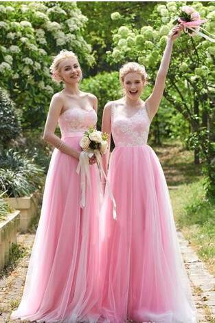 Lovely Blush Pink Bridesmaid Dresses 2 styles floor length v neck a line lace tulle bridesmaid dresses