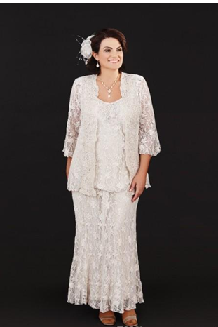Mother Of The Bride Dresses Three Pieces Full Lace Mother's Wedding Gowns Scoop Neck Plus Size Mothers Groom Dress
