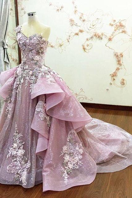 Real Image Prom Dresses Detachable Train Sheer Neck Ruffle Flower Applique Beads Evening Dress Spring Summer Crystal Luxury Pink Party Gowns