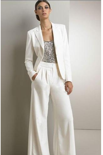 Mother Of The Bride 3 Piece Pant Suit Chiffon White Wedding Mother's Groom Dress Long Sleeves Beads Mothers Formal Wear