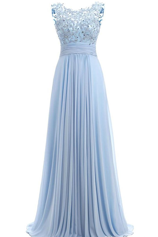 Light Sky Blue Prom Dress Cap Sleeve 2018 Robe Ceremonie Femme Long Elegant Evening Dresses Floor Length Party Gowns