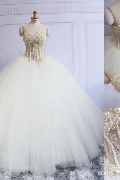 2018 Luxury Wedding Dress, Ball Gown Wedding Dresses.with Pearls Bridal Dress, Tulle Long Bridal Gown