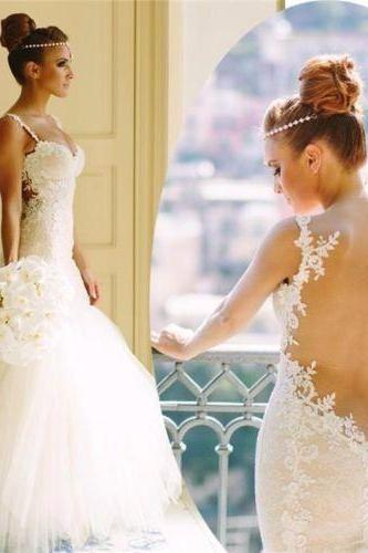 2018 Sexy Lace Wedding Dress, Spaghetti Straps Wedding Dresses. Backless Bridal Dress,Long Bridal Gown