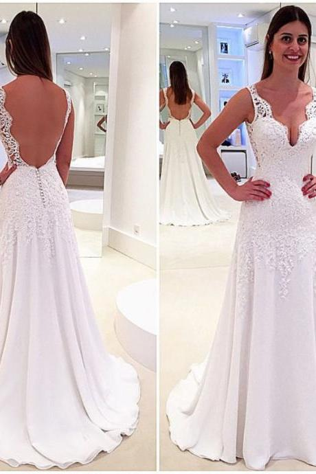 2018 Sheath Wedding Dress, V-neck Wedding Dresses.Backless Bridal Dress, Long Bridal Gown