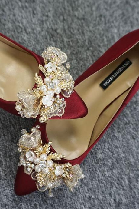 Crystal Embellished Satin Pointed-Toe High Heel Stilettos, Bridal Heels