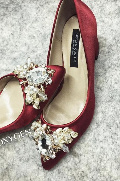 Crystal Embellished Burgundy Satin Pointed-Toe Block Heels, Bridal Heels