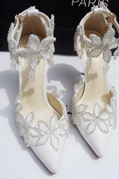 Pearl and Rhinestone Floral Pointed Toe High Heel Pumps , Bridal Shoes, Bridesmaids Shoes, Prom Heels
