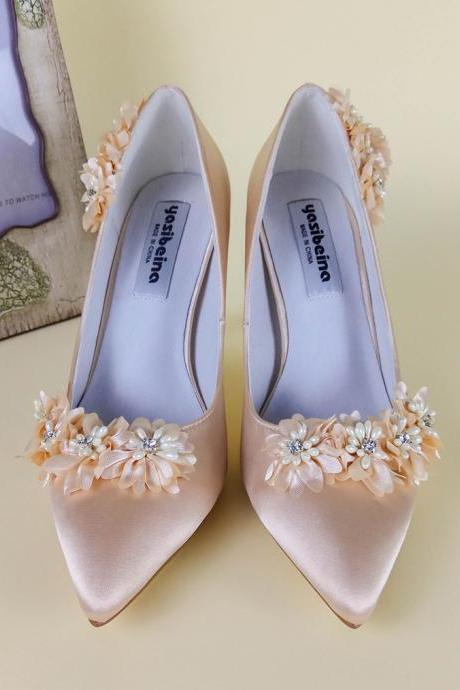 Pointed Toe Satin High Heel Pumps Adorned with Floral Applique Pearl Beads, Bridal Shoes, Bridesmaids Shoes, Prom Heels