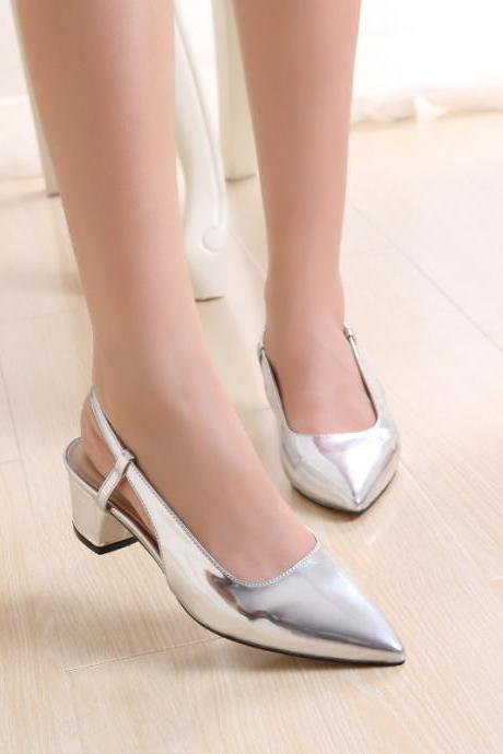 Pointed Toe Silver Metallic Low Heel Slingback Pumps, Bridal Shoes, Prom Heels