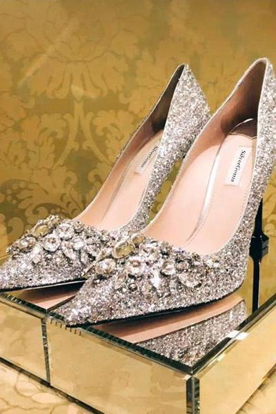 Pointed Toe Stiletto Pumps Featuring Diamond and Glittery Embellishments , Bridal Shoes, Prom Heels