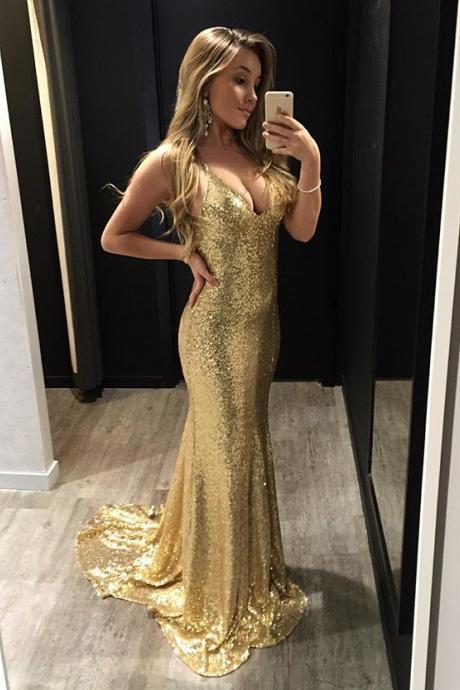 Sparkly V Neck Gold Sequins Long Prom Dress with Criss Cross