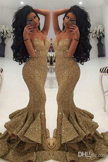 Luxurious Mermaid Long Straps Gold Sequins Prom Dress with Side Slit
