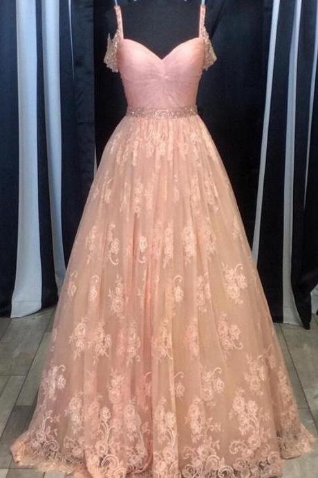 Pink Long Prom Dress, Pink Lace Prom Dress Evening Dress