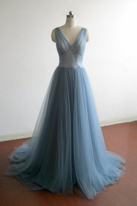 Elegant Grey Blue Tulle Long Prom Dress,V Neck Bridesmaid Dress,2017 Evening Dress