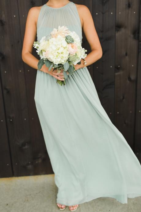 2017 Sage Green Long Bridesmaid Dress,Halter Pleat Long Evening Dress