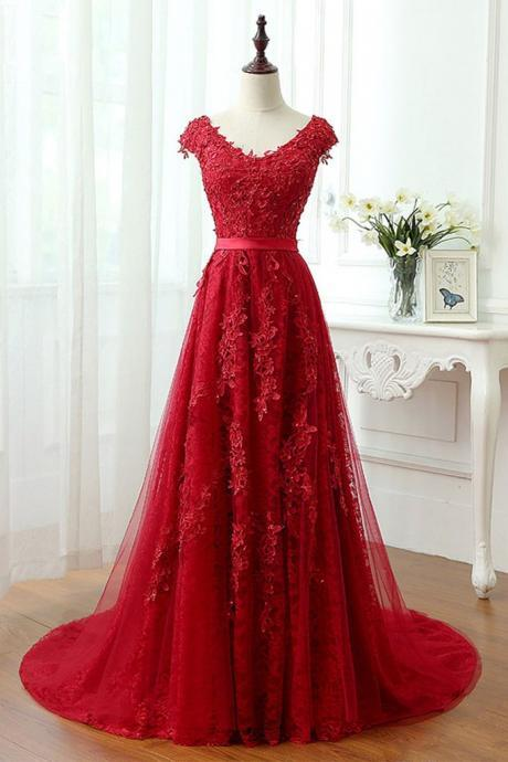 Charming Red Tulle Applique Lace Prom Dress,Long Cap Sleeve Evening Dresses,Red Lace Prom Dresses