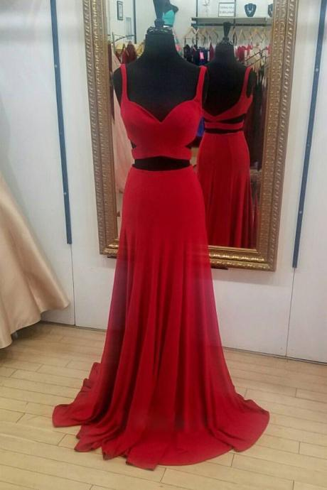 Simple Red Chiffon Prom Dress,Two Pieces Sweetheart Evening Dress,Straps Long Prom Dresses