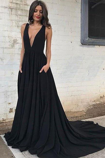 Sexy Black V Neck Long Prom Dress with Sweep Train,Open Back Evening Dress,Beautiful Party Dress