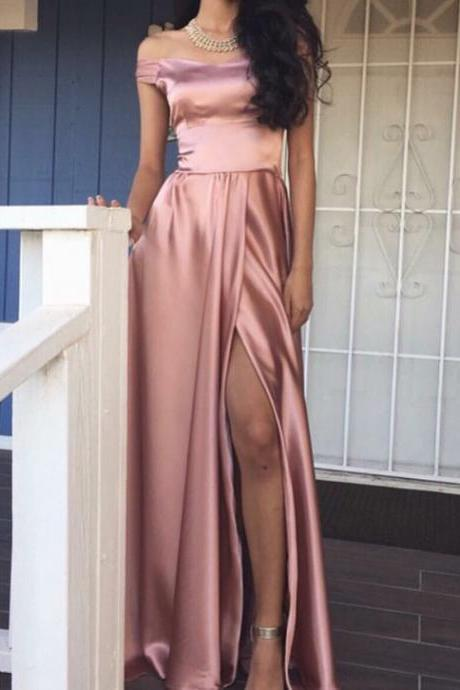 Pink Long Prom Dress with Slit, Elegant Off the shoulder Long Slit Prom Dress Evening Dress