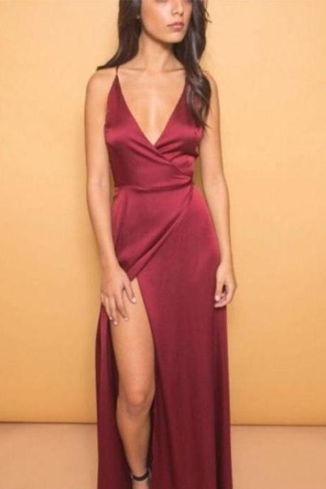 Custom Made Red Satin Foldover Wrap Style High Split Evening Dress, Homecoming Dresses, Graduation Dresses, Cocktail Dresses