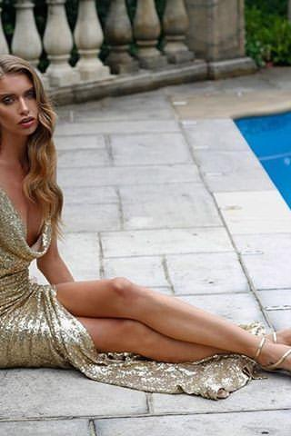 Sexy Sheath Prom Dress Evening Dress, Golden Prom Dress Formal Dress,Halter Prom Dress, High Split Long Prom Dress