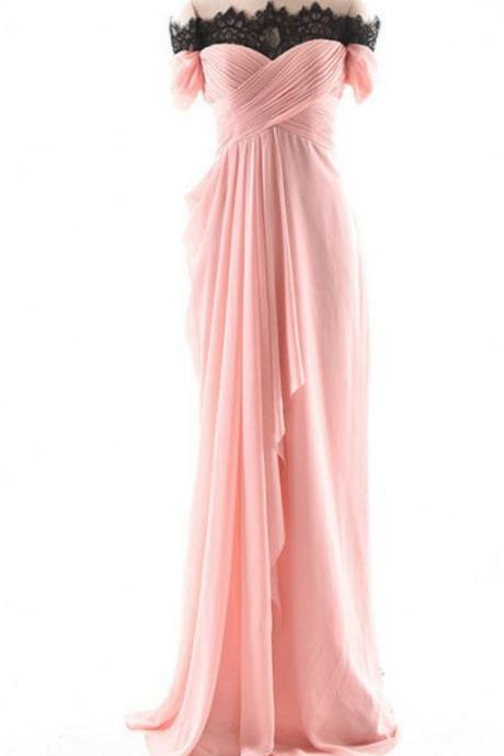 Off-the-shoulder Ruched Chiffon A-line Long Evening Dress, Prom Dress, Bridesmaid Dress Featuring Lace-up Back