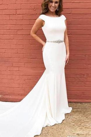Cheap Prom Dresses Scoop Neckline Cap Sleeves Long Mermaid Evening Dress Formal Gowns Custom Made Party Dress With Beaded Sash