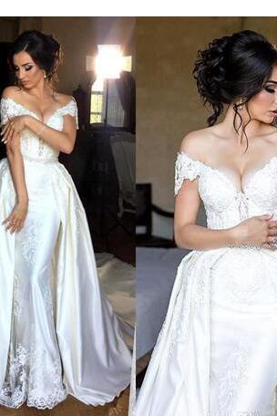 Vintage Wedding Dresses With Detachable Train Off The Shoulder Lace Appliques Beads Bridal Gowns Long Train Overskirts Wedding Dress
